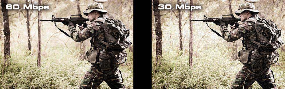 Picture Perfect. 30Mbps to 60Mbps. A soldier is aiming with a gun.