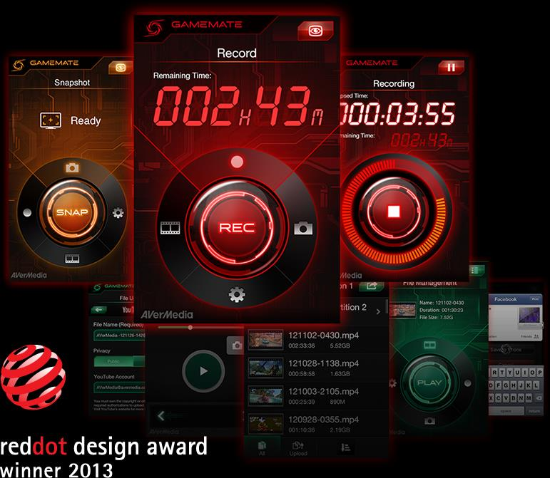 GameMate application interface. RedDot Design award winner 2013.