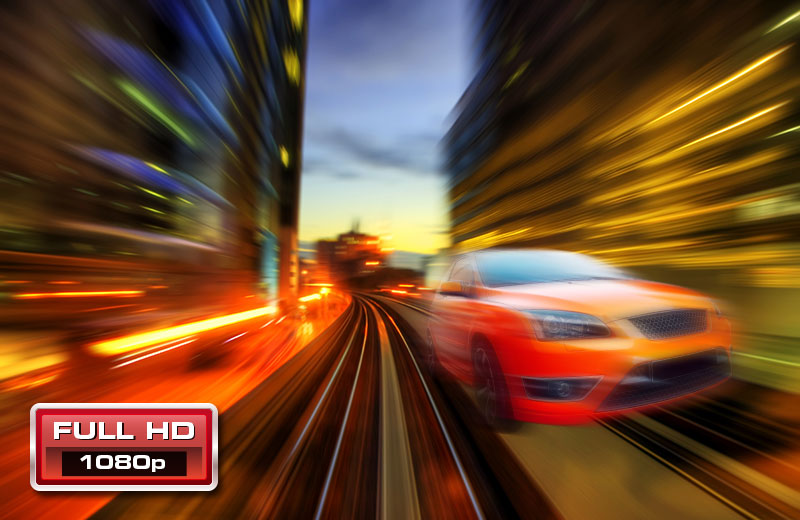 1080p Full HD. A car moves at fast speed.